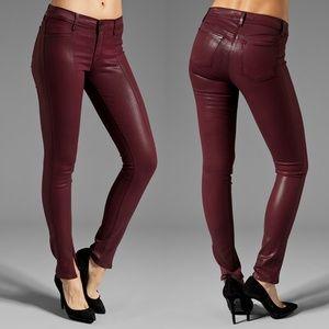 J Brand Vera Wax Coated Split Hem Skinny Jeans